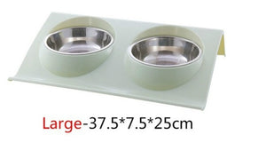 Dog Double Bowl Stainless Steel Cute Feeder