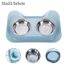 Load image into Gallery viewer, Dog Double Bowl Stainless Steel Cute Feeder