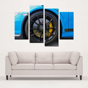 Porsche RS - 4 Panels Canvas Prints Wall Art for Wall Decorations
