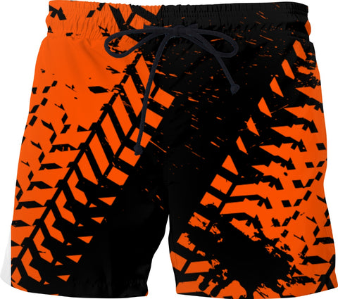 Orange Tire Track Swim Shorts