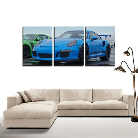 Porsche GT3 RS - 3 Panels Canvas Prints Wall Art for Wall Decorations