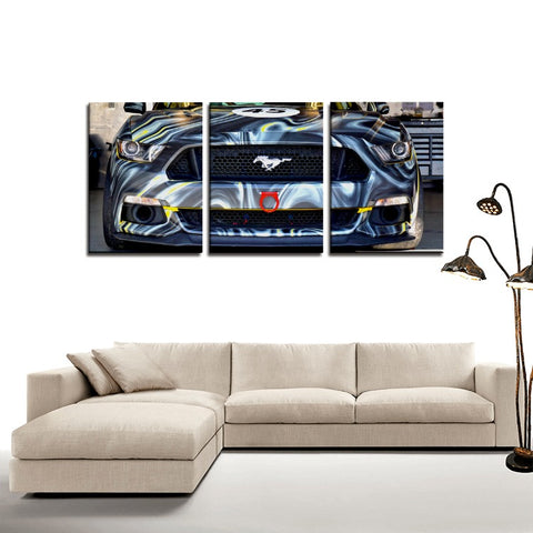 Mustang - 3 Panels Canvas Prints Wall Art for Wall Decorations