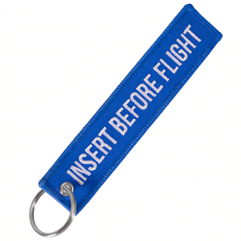 """INSERT BEFORE FLIGHT"" Blue Key Tag"