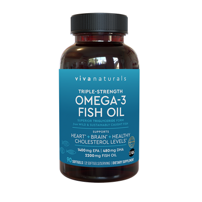 Viva Naturals Omega 3 Fish Oil 90 capsules, bottle front