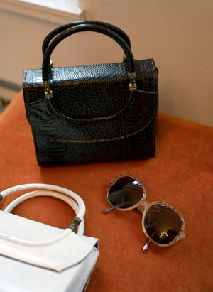load image into gallery viewer, new amsterdam bag - mock-croc brown