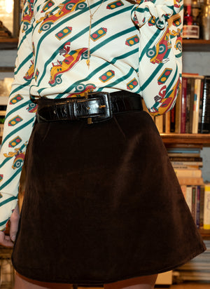 load image into gallery viewer, chelsea skirt - brown velvet