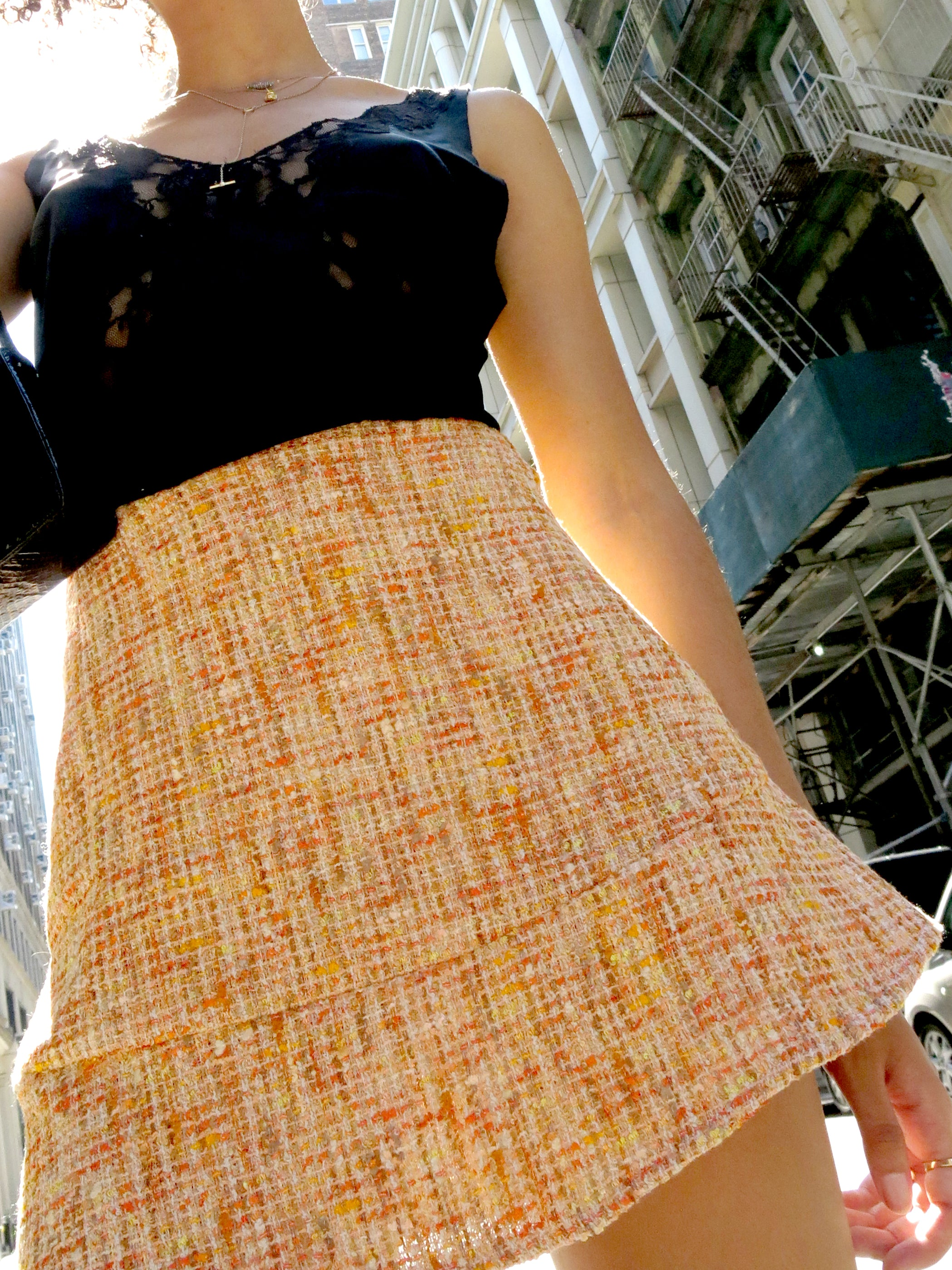 london skirt - orange tweed