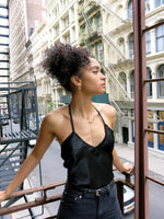black silk satin santiago top - upcycled vintage - girl of the earth