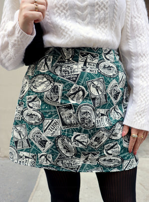 load image into gallery viewer, chelsea skirt - teal passport stamp