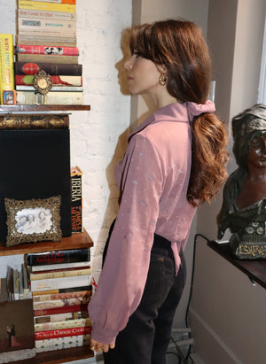 load image into gallery viewer, embroidered mauve marylebone - balloon sleeve wrap tie top - girl of the earth
