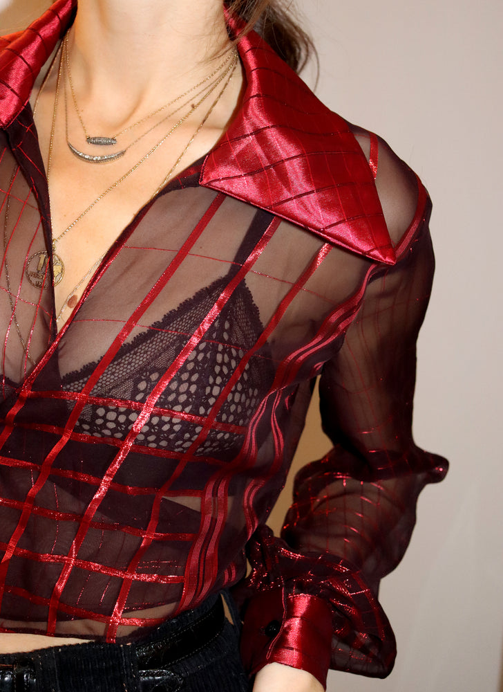 metallic red check marylebone - balloon sleeve wrap tie top - girl of the earth