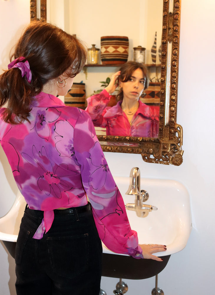 pink floral marylebone - balloon sleeve wrap tie top - girl of the earth