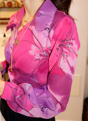load image into gallery viewer, pink floral marylebone - balloon sleeve wrap tie top - girl of the earth