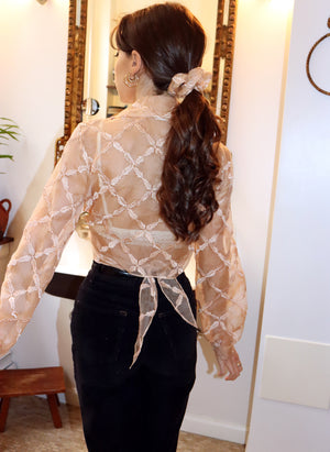 load image into gallery viewer, organza marylebone - balloon sleeve wrap tie top - girl of the earth