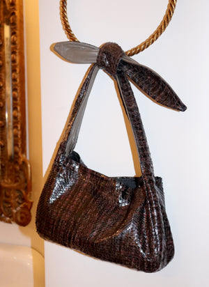 load image into gallery viewer, west village bag - brown snakeskin