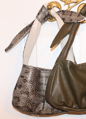 load image into gallery viewer, west village bag - grey snakeskin