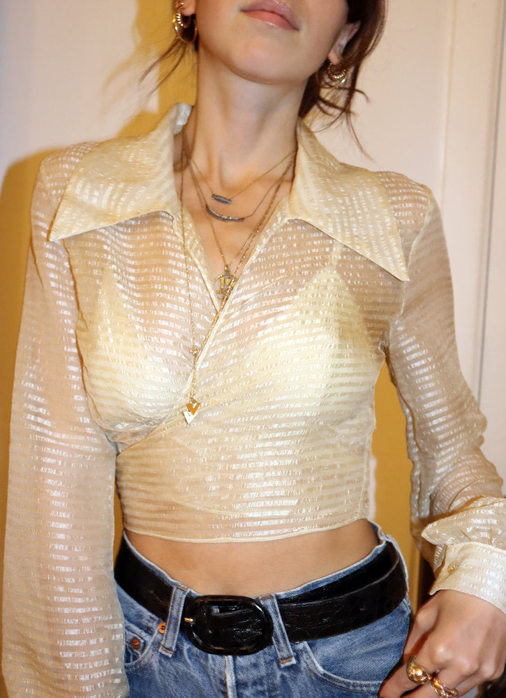 load image into gallery viewer, ivory stripe marylebone - balloon sleeve wrap tie top - girl of the earth