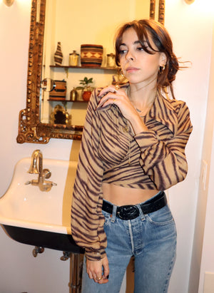 load image into gallery viewer, tiger stripe marylebone - balloon sleeve wrap tie top - girl of the earth