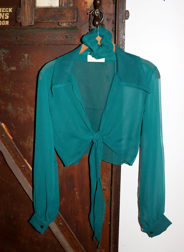 sheer teal marylebone - balloon sleeve wrap tie top - girl of the earth