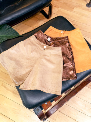 load image into gallery viewer, amsterdam shorts - distressed tan leather