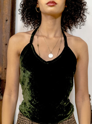load image into gallery viewer, green velvet santiago top - backless halter - girl of the earth