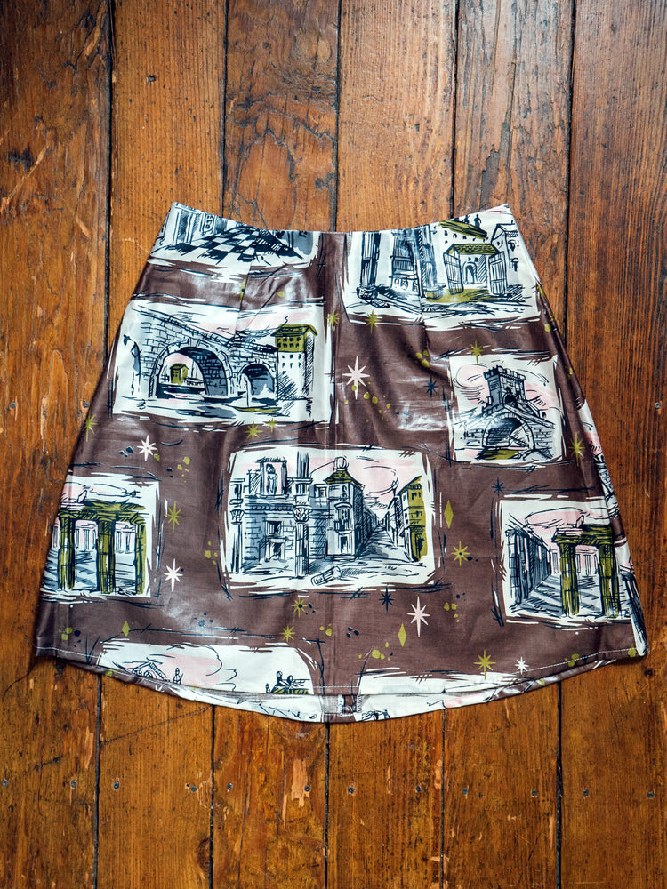 load image into gallery viewer, chelsea skirt - shiny brown postcard