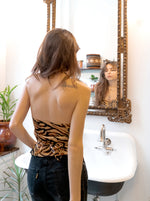 tiger animal print santiago top - backless halter - girl of the earth