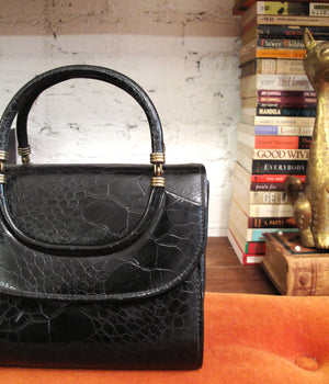 load image into gallery viewer, new amsterdam bag - croc black