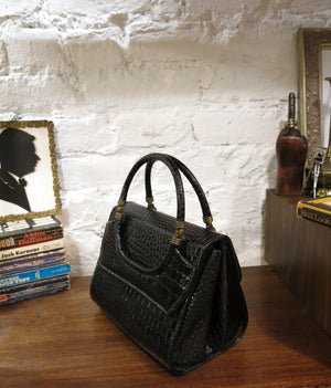 new amsterdam bag - patent croc black