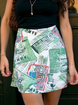 load image into gallery viewer, chelsea skirt - green newspaper