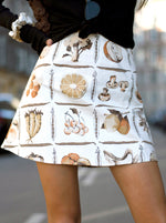 white vegetable chelsea - a-line mini skirt - girl of the earth
