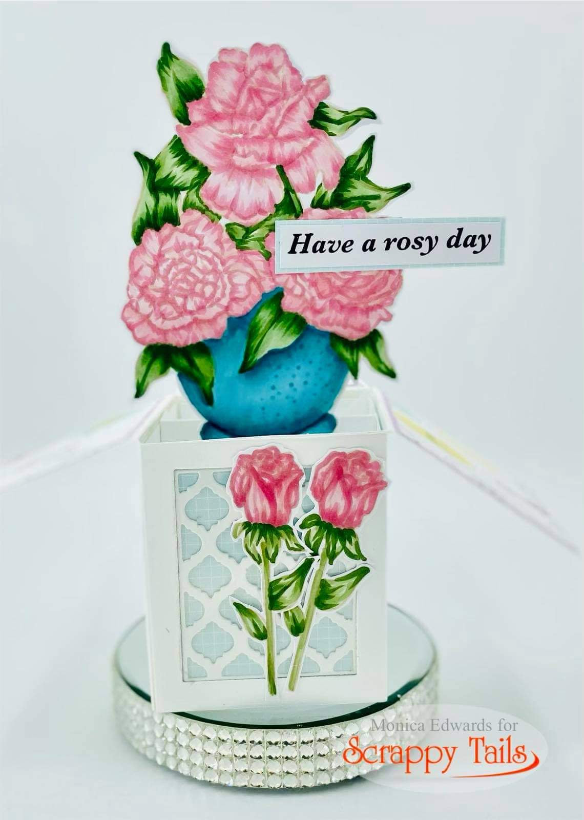 No line Coloring Roses | A7 Pop Up Box Card