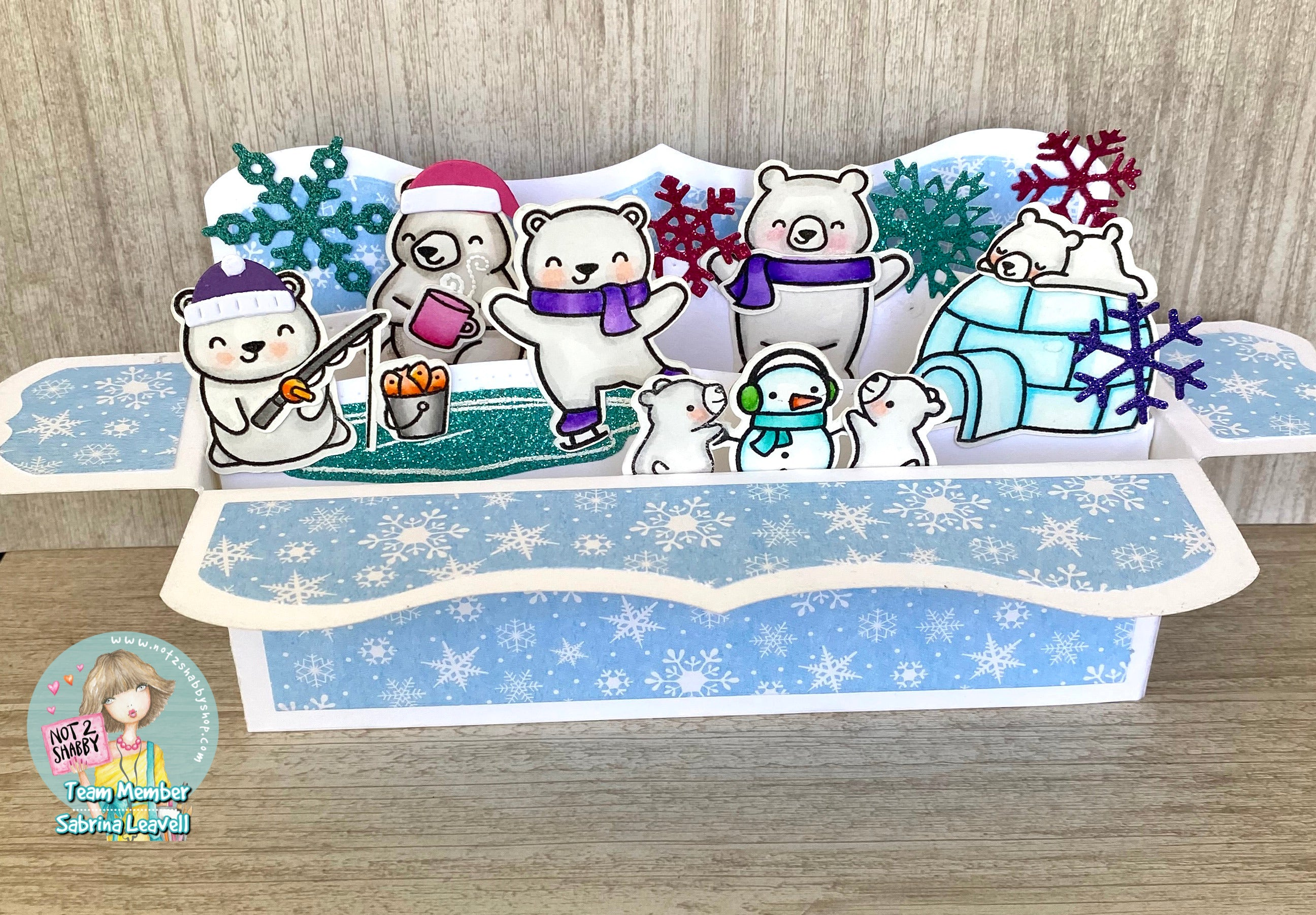Lawn Fawn Polar Bear Slimline Pop up Box Card