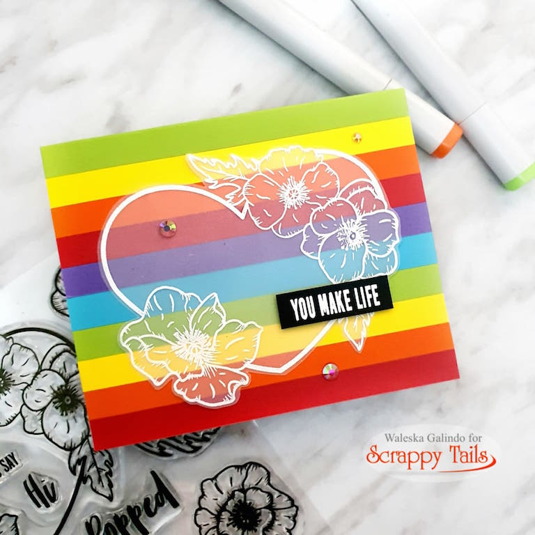Rainbow Valentine Cards Made With Scraps