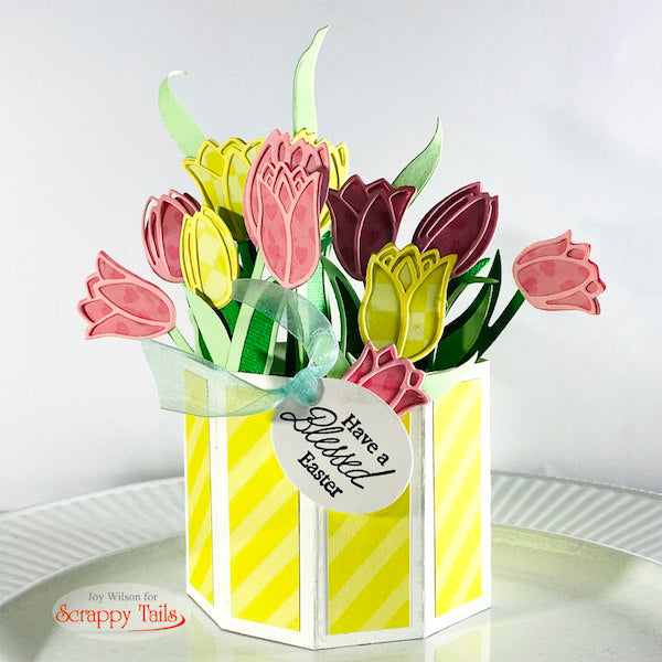 Outline Tulip Pop up Vase Card