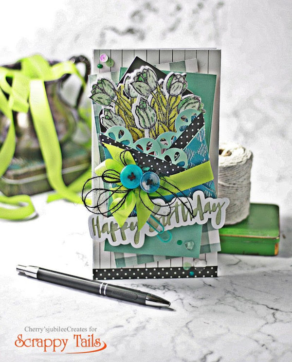 Timeless Tulips Mini Slimline Birthday Card