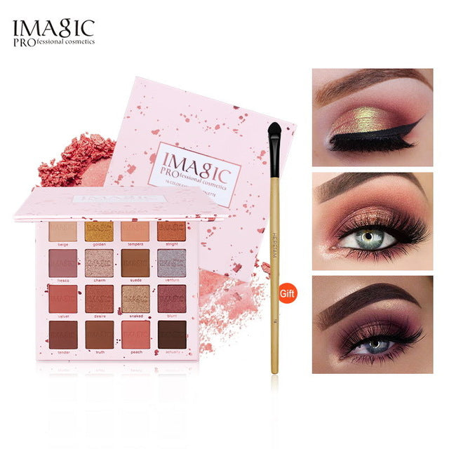 IMAGIC New Shimmer Eyeshadow 16 Colors Palette Matte Eyeshadow Glitter Palette Make Up Set Beauty - Beautiful Beauty