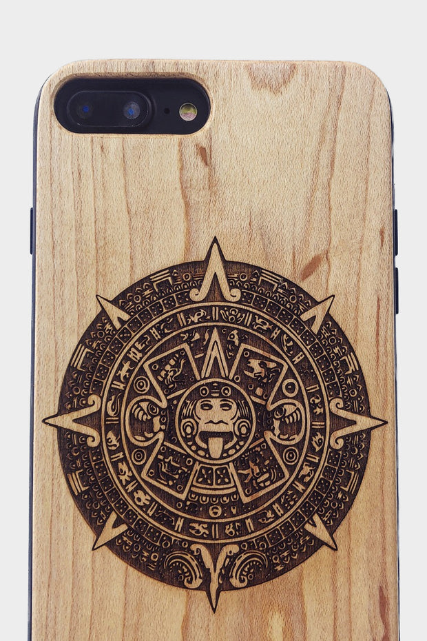 Aztec Calendar - Laserx Engraving -wood case - customizer - wood iphone cases - wood products