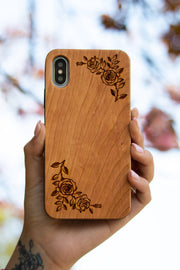 Floral Design - Laserx Engraving -wood case - customizer - wood iphone cases - wood products