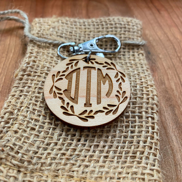 Monogram Keychain -Design Style 1 - Laserx Engraving -wood case - customizer - wood iphone cases - wood products