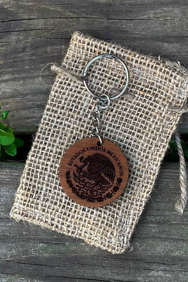 Mexico Seal Wood Keychain - Laserx Engraving