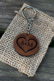 Heart & Initials Wood Keychain - Laserx Engraving