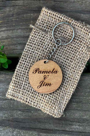 Couple Names Wood Keychain - Laserx Engraving
