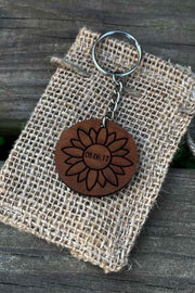Sunflower Wood Keychain - Laserx Engraving