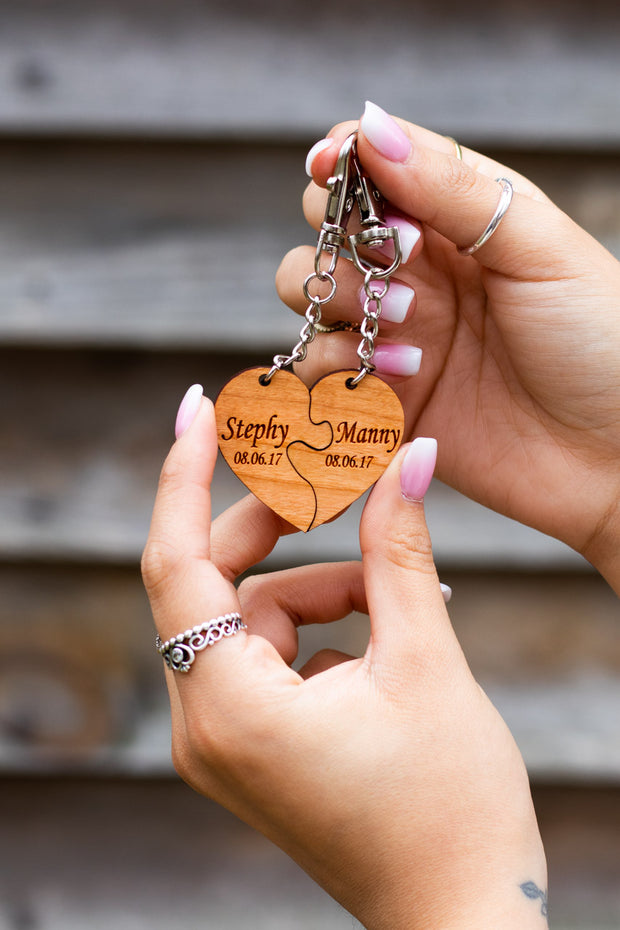 Puzzle heart keychain - Laserx Engraving -wood case - customizer - wood iphone cases - wood products