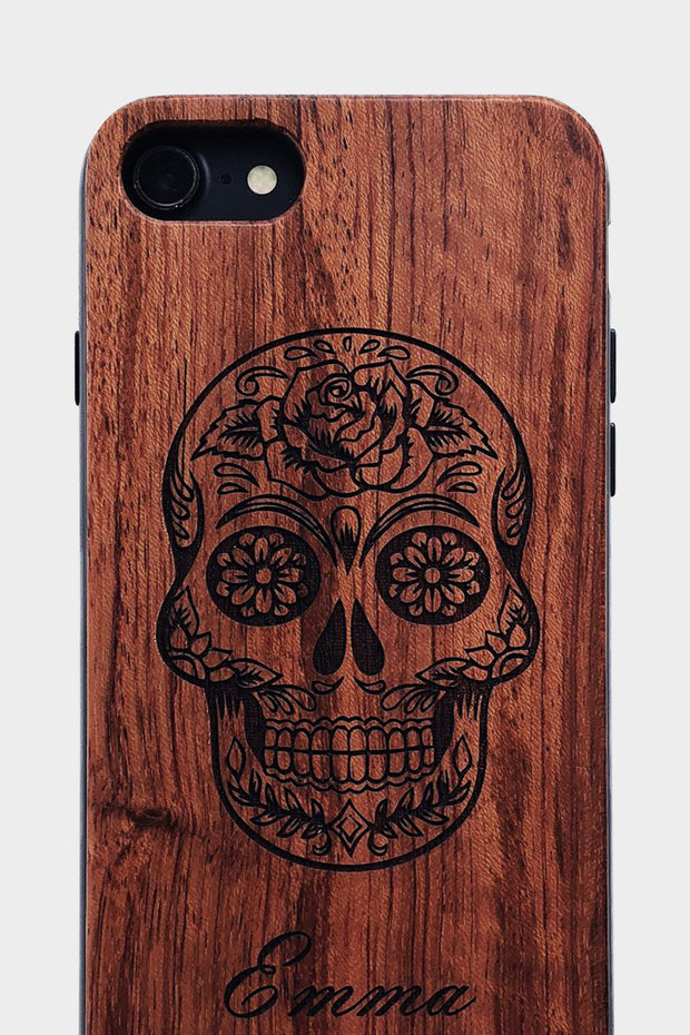 Sugar Skull - Laserx Engraving -wood case - customizer - wood iphone cases - wood products