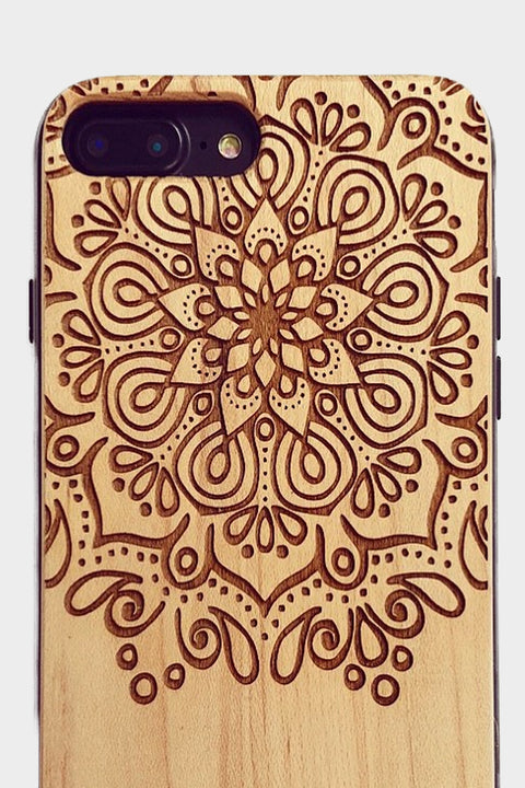 Top Half Mandala - Laserx Engraving -wood case - customizer - wood iphone cases - wood products