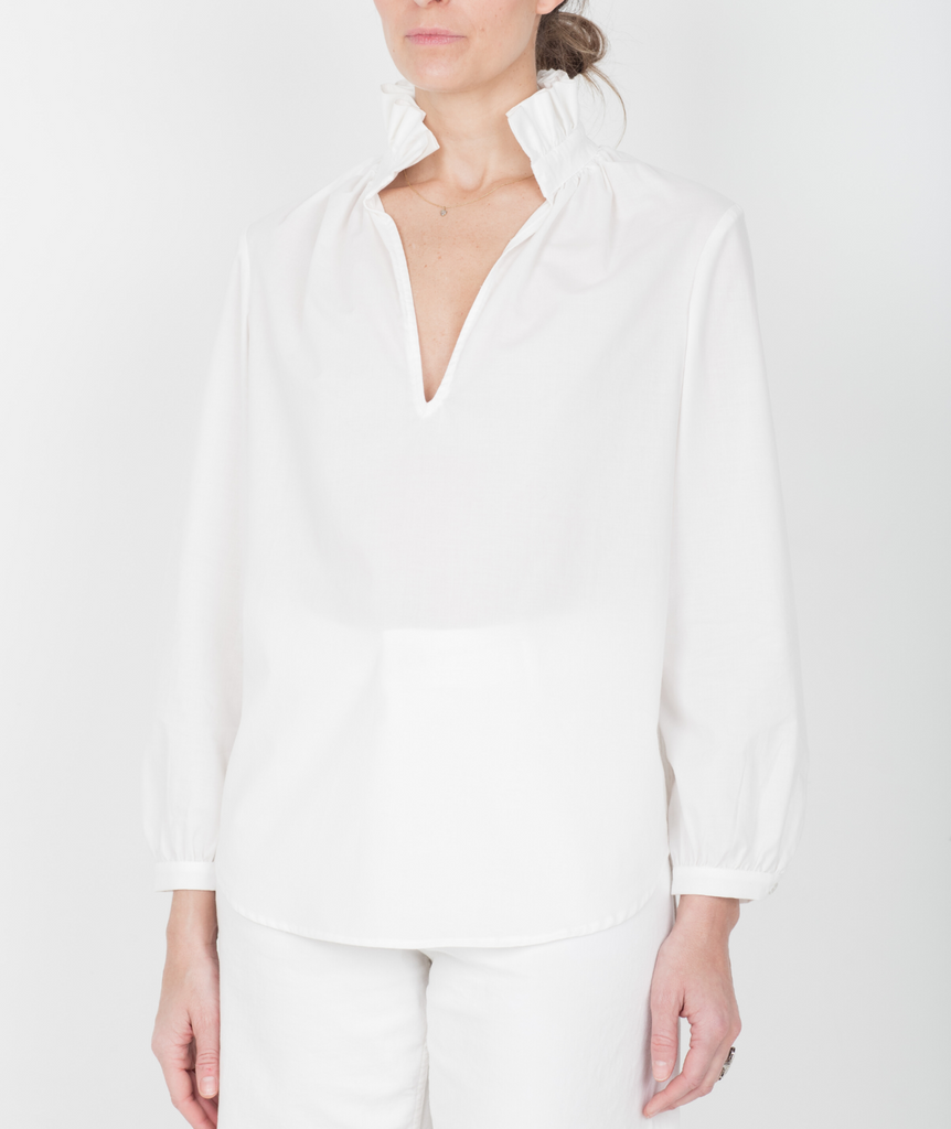 Faye Ruffle Collar Shirt - White