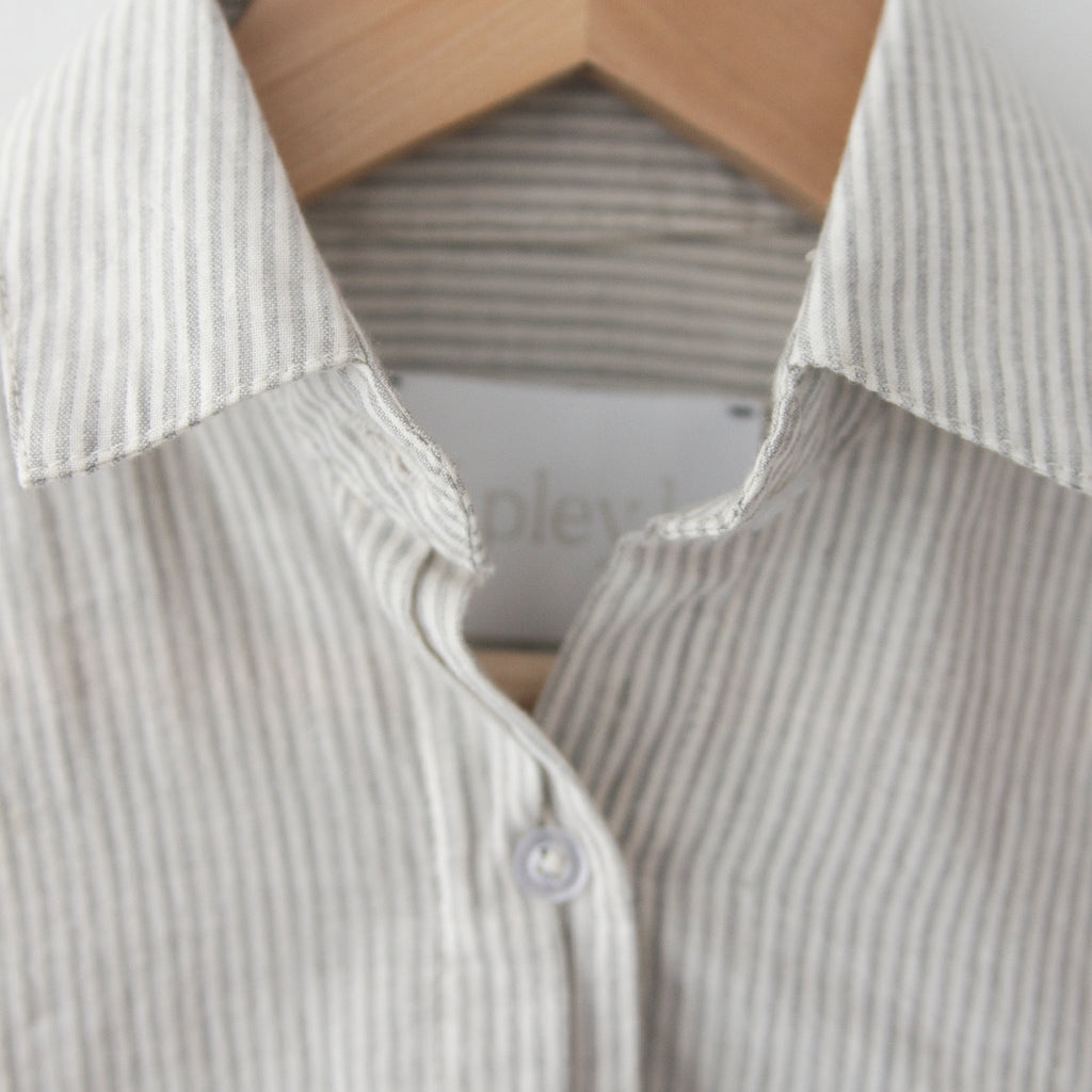 Spanish Banks Button Up - Grey Stripe