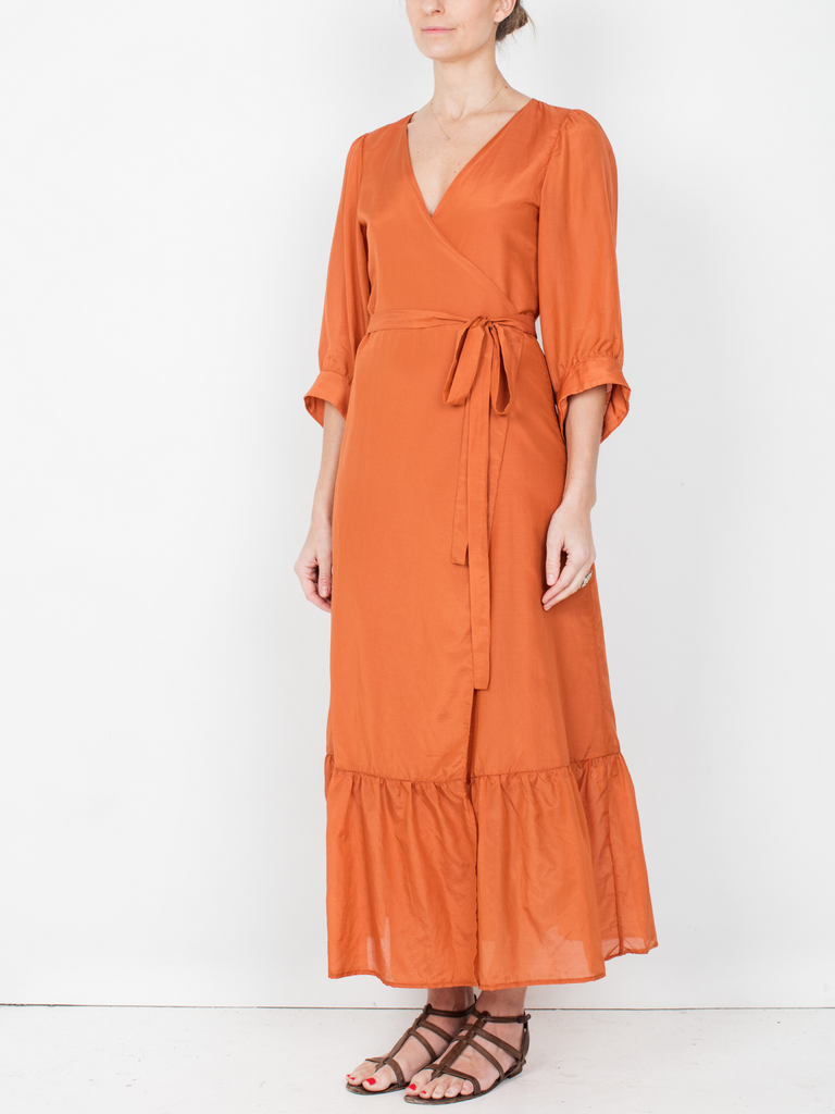 Penelope Wrap Dress - Monarch Orange